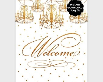 Printable Gold Welcome Sign, Welcome Table Sign, DIY Welcome Sign, Elegant Welcome Sign, Birthday Decor, Wedding Sign, Instant Download PP8