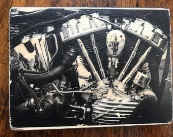 Harley Davidson Panhead Motor Custom Wood Print - Wabisabi Cycles