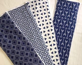 Navy and White Modern Geometric Baby Burp Cloths Handmade Upcycled Cloth Diapers
