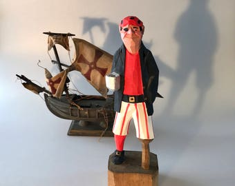 Large Carved Peg Leg Pirate