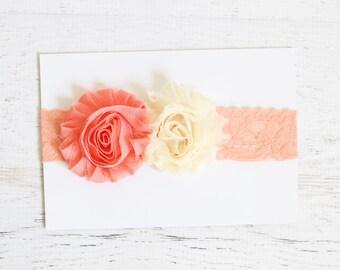 Peach pink lace headband with cream Flower, Newborn Baby Girl Headband, Photo Prop, Baby Girl Lace Headband, Newborn Size, Ready to Ship