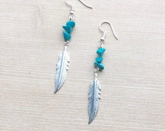 Turquoise Stone Feather Earrings in Silver