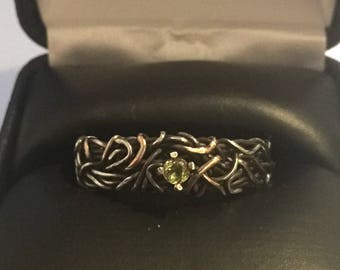 6mm Mixed Metal Ring, Silver, Mixed metal Wedding Band, Rose and yellow gold, Unique Wedding Ring, Peridot Ring