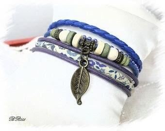 Blue multiliens BR755 Brazilian style Cuff Bracelet