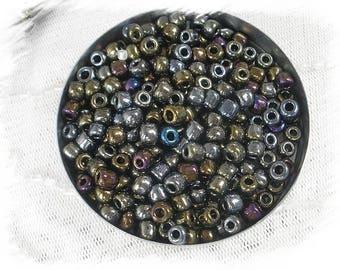 perles de rocaille en verre irisé4mm 150g