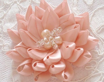 Handmade Ribbon Flower With Beads (2-3/4 inches) MY-677-37 Ready To ship