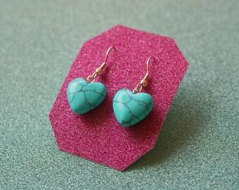 Heart Earrings, Howlite Turquoise Earrings, Sterling Silver Earrings, Natural Stone Earrings, Pillar Earrings, Drop Earrings, For Her