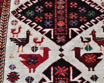 Baluch Bird Rug -- 7 ft. 2 in. by 3 ft. 7 in.