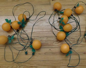 Vintage Outdoor PATIO LIGHTS Blow Mold Oranges 2 Sets
