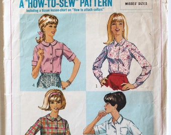 Vintage 1960s Womens Button Down Collared Shirt/Blouse Sewing Pattern Size 14 Bust 34 Simplicity 6648