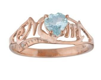 14Kt Rose Gold Plated Genuine Aquamarine & Diamond Heart MOM Ring