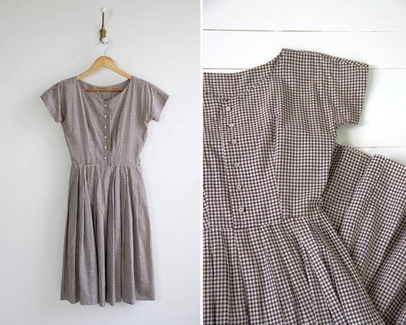 vintage 1950s gingham dress | 1950s cotton day dress | brown gingham 50s cotton dress | 1950s shirtwaist dress xs