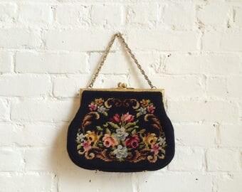 Vintage floral needlepoint clutch evening purse bag