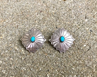 Native American sterling silver turquoise vintage southwestern boho concho post earrings
