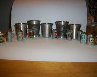 Free Shipping*** Lot of German Pewter Stainless Steel Shot Glasses Rein Zinn Miniature Steins Barware Bar room Cart Decor