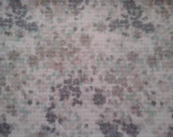 Double kitchen towel extra wide tiny gray teal tan flowers Crocheted gray top.