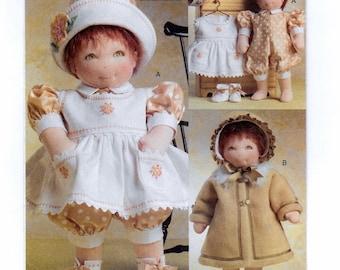"""A Sewing Pattern for 15"""" Baby Doll Clothes: Dress, Jumpsuit, Hat, Bootie, Coat, Bonnet - Uncut ~ Vogue 8277"""