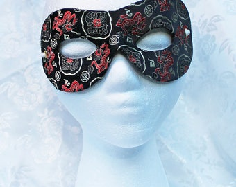 Black Brocade Eye Mask, Black Gold and Red Satin Chinese Print Brocade Zorro Men's Eye Masquerade Mask