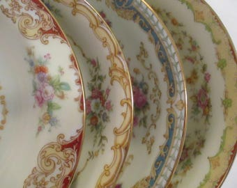 Vintage Mismatched China Dessert Bowls, Fruit Bowls, Berry Bowl, Sauce Bowl - Set of 4