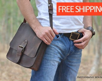 Classic distressed Brown Leather Bag, Messenger Bag, Shoulder bag, Crossbody, Men's leather bag, For Him, for every day use.