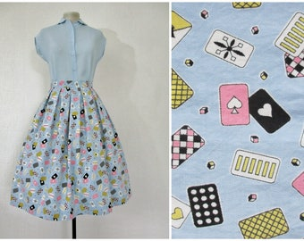 1950s Skirt 50s Novelty Print Skirt Blue Pink Yellow Eames Playing Cards Pleated Skirt Brushed Cotton 1950s Full Skirt S M