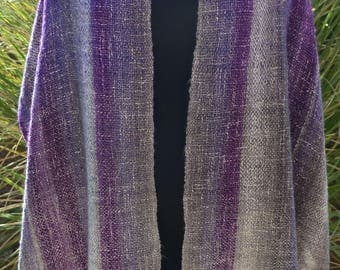 Handwoven Shawl, Handwoven Wrap, Scarf, Twisted Fringe, Ombre, Purple, White, Grey, Valentines Day Gift