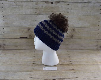 Crochet Messy Bun Hat - Ponytail Hat -Bun Hat - Messy Bun Beanie - Mom Bun Hat -  Child Messy Bun Hat - Bun Beanie  - Ready to ship