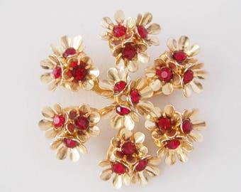 Vintage Coro Gold Tone Red Rhinestone Flower Brooch Pin / CJ2930