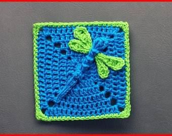 DIGITAL DOWNLOAD: PDF Crochet Pattern for the Dazzling Dragonfly Granny Square