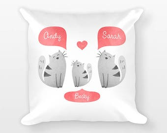 Cat Nursery Pillow, Personalized Baby Gift, Baby Shower Gift, Cat Nursery Decor, Pillow for Kids Room Decor, Animal Nursery Throw Pillow