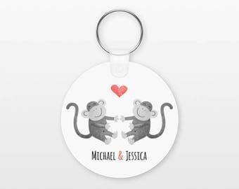 Monkey Keychain, Couple Keychain Personalized Keychain, Boyfriend Keychain Girlfriend Keychain, Couple Key Chain, Animal Keychain, Keyring
