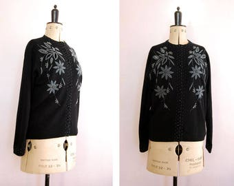 Vintage 1950s beaded black wool cardigan - 50s wool sweater - 50s wool cardigan - Beaded sweater - Vintage cardigan - Sequined cardigan