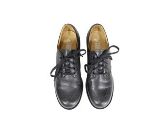 Size 6.5A Black Leather Lace Up Oxfords // Women's Oxford Shoes // G513