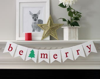 be merry banner - christmas decorations - holiday decorations - christmas banner - holiday banner - tree - be merry