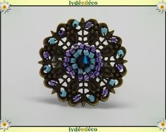Charming retro vintage Adjustable ring bronze purple turquoise glass beads