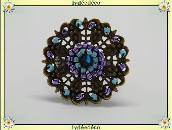 Japanese turquoise purple glass 25mm bronze beads charm retro vintage adjustable flower ring