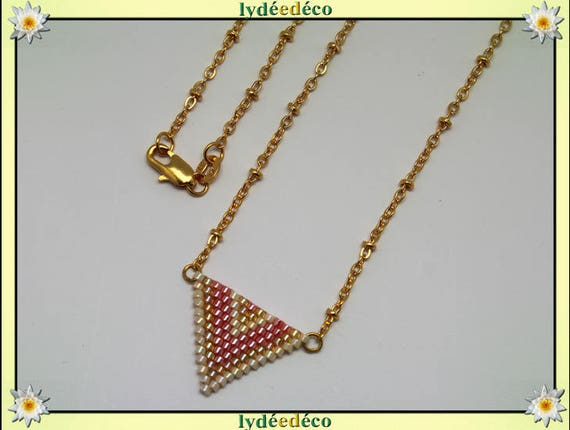 Necklace plated 18 k gold lilac pink pastel orange beige and gold woven triangle chevron chain ball
