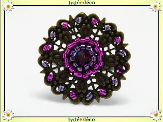 Ring flower weaving print Japanese retro purple pink vintage brass bronze 25mm glass beads
