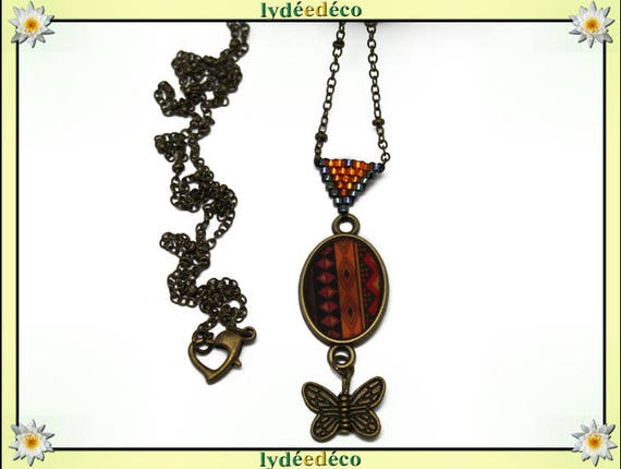 Retro necklace resin cabochon 20 x 15mm orange brown black African Butterfly brass medallion triangle heart beads