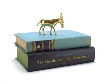 Vintage Small Brass Donkey or Mule Figurine - Mid Century Hollywood Regency Home Decor Nativity Scene - Democratic Politics - Gold Animals