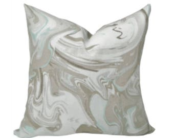 Designer Pillow Cover Marble Swirl in Aqua by Kravet /Gray /Turquoise /Tan