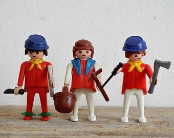 3 PLAYMOBIL FIGURINES - vintage kids toy, set of 3 figurines, small plastic dolls, collectible, Geobra 1974 figurines, playmobil lovers