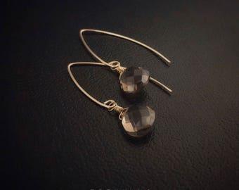 14K Gold Filled Smoky Quartz Teardrop Earrings [Grade 5A]