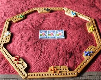 DISCOUNTED Marbles and Jokers game made from solid  oak.  With Bicycle cards, & storage bag. 8 player See item details