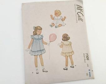 Baby Dress Pattern, Vintage Pattern, McCalls 7309, Childs Dress, Vintage Baby, 1940s Sewing, 1940s Pattern, Little Girl Dress, McCalls Girls