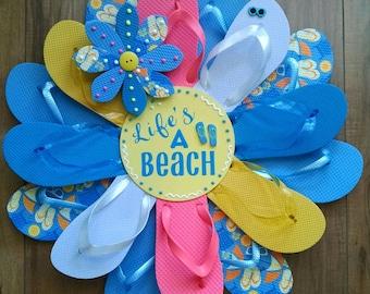 Life's A Beach Print Flip Flop Wreath W/ Sunglasses Beachy Coastal Door Decor Ocean Styles Luau Deck Patio Summer