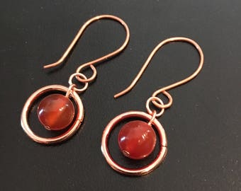 Orange Stone Drop Earrings, Copper Circle Earrings, Orange Earrings, Simple Earrings, Handmade Earrings