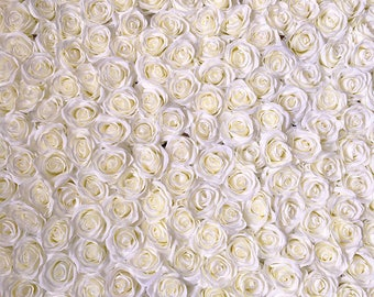 Wedding Flower Backdrop Silk Rose Ivory Flower Wall Floral Wedding Background Cream White For Photography Backdrops Panels 8x8ft CJHQ-Q010