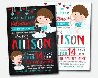 Valentines Baby Shower Invitation, Little Cupid Baby Shower Invite, Digital Personalized Invitation, 2 Options