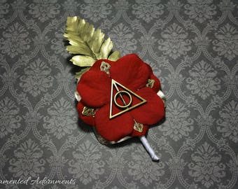 Gryffindor Colours - Deathly Hallows Themed Boutonniere - Metal, Harry Potter Inspired Wedding, Groom, Groomsmen, Prom, Corsage